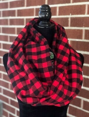 Small Check Red & Black Buffalo Plaid Infinity Scarf with Hidden Pocket (Flannel)