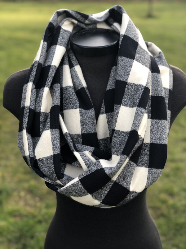 Mammoth Check  Ivory & Black  Infinity Scarf with Hidden Pocket! (Flannel)