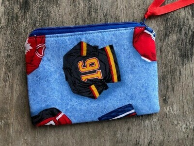 Hockey on Blue   Zip Pouch 100% Cotton