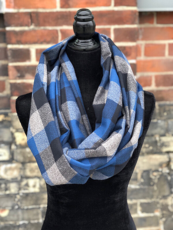 Blue/Grey Plaid Infinity Scarf & Matching Scrunchie Combo