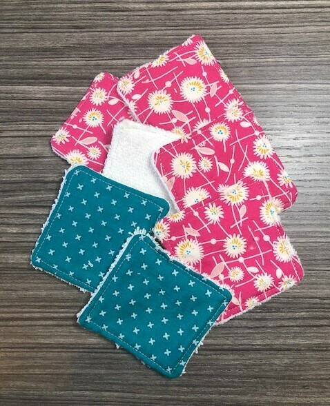 Facial Wipes  Re-Usable   Pink Floral & Teal