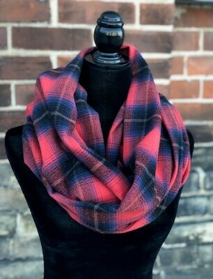 Americana Blue & Red Plaid Infinity Scarf with Hidden Pocket! (Flannel)