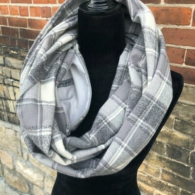 Iron Grey Plaid Infinity Scarf with Matching Scrunchie  (Flannel)