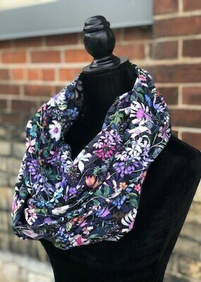 Black Floral Infinity Scarf with Hidden Pocket (Knit)