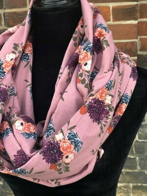 Infinity Scarf Floral Grenadine with Hidden Pocket (Knit)