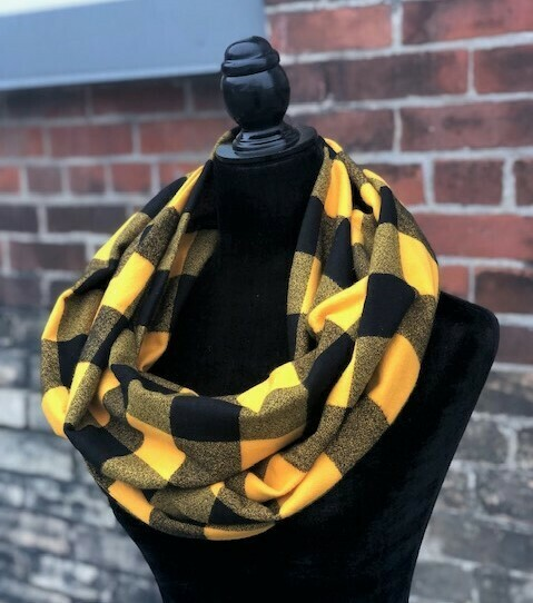 Mustard & Black Mammoth Plaid Infinity Scarf with Hidden Pocket! (Flannel)