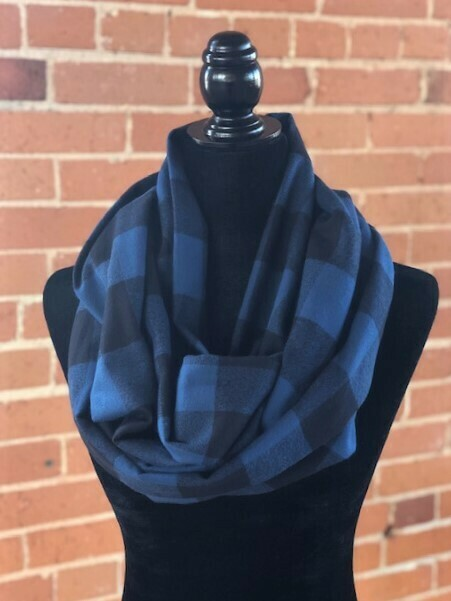 Mammoth Black & Blue Plaid Infinity Scarf  with Scrunchie  Combo(Flannel)
