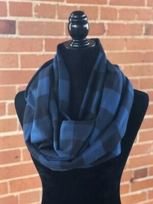 Mammoth Black & Blue Plaid Infinity Scarf (Flannel)