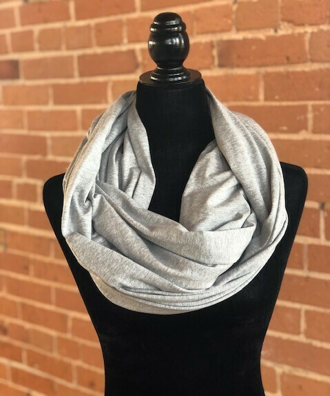 Infinity Scarf  Light Grey Heather  with Hidden Pocket (Knit)