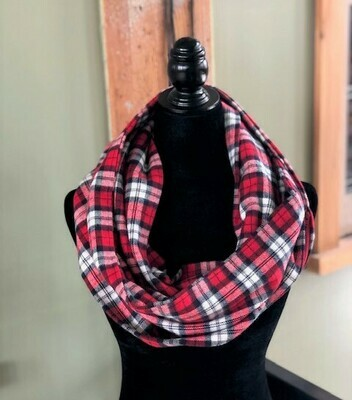 Red & Navy Blue Infinity Scarf with Hidden Pocket! (Flannel)