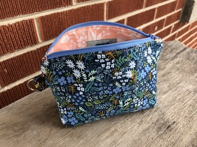 Blue Floral Essential Oil or Make Up Bag