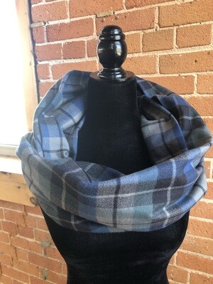 Shadow Blue Plaid Infinity Scarf with Hidden Pocket! (Flannel)