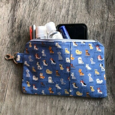Canvas Pretty Blue Dogs Zip Pouch (Not quite Perfect)