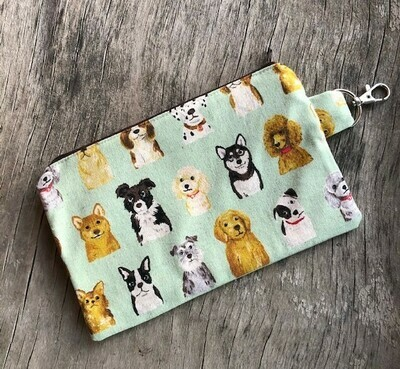 Canvas Mint Green Dogs Zip Pouch