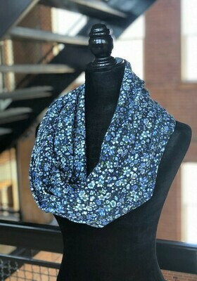 Blue Floral Infinity Scarf with Hidden Pocket (Knit)
