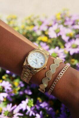 Horloge metalen band grof goud  - My Jewellery