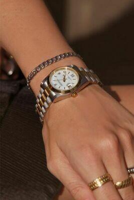 Horloge metalen band grof goud en zilver  - My Jewellery