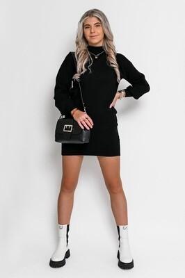 40953B zwart Gebreide jurk met col - Ambika