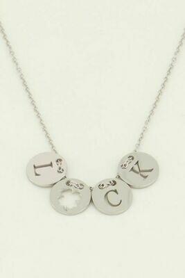 MJ04485 zilver Ketting met Luck bedels-My Jewellery