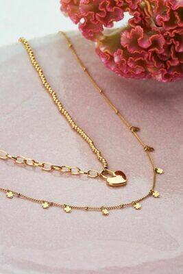 MJ04492 goud/gold Ketting klavertjes- My Jewellery