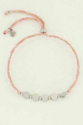 MJ04501 zilver Armband touw love - My Jewellery