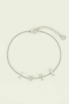 MJ04467 zilver armband Love letters - My Jewellery