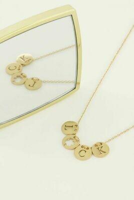 MJ04485 goud/gold Ketting met Luck bedels-My Jewellery