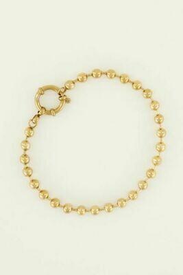 MJ04469 goud/gold Armband bolletjes ronde sluiting - My Jewellery