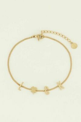 MJ04466 goud/gold Armband luck letters - My Jewellery
