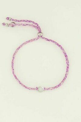 MJ04503 zilver Armband touw klavertje - My Jewellery