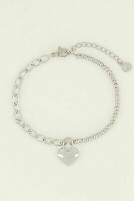 MJ04468 zilver Armband hartjes slot - My Jewellery