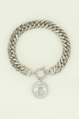 MJ04464 zilver Schakelarmband munt - My Jewellery