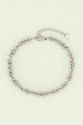 MJ04459 zilver schakelarmband bolletjes - My Jewellery
