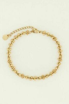MJ04459 goud/gold schakelarmband bolletjes - My Jewellery