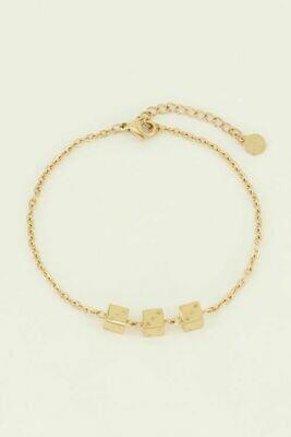 MJ04463 goud/gold Armband drie dobbelsteentjes - My Jewellery
