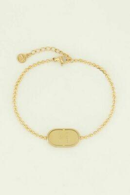MJ04460 goud/gold Armband love plaatje - My Jewellery