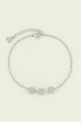 MJ04463 zilver Armband drie dobbelsteentjes - My Jewellery