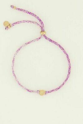 MJ04503 goud/gold Armband touw klavertje - My Jewellery