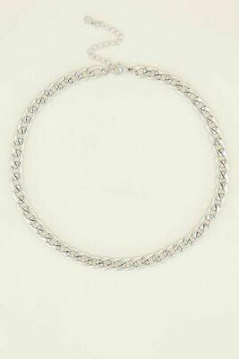 MJ03975 zilver Ketting met platte schakels - My Jewellery