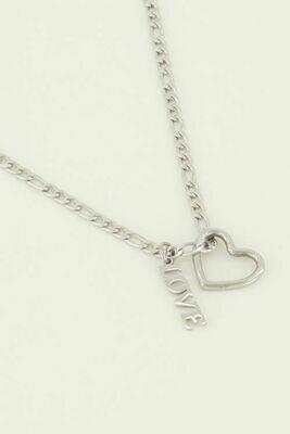 MJ04484 zilver Ketting bedels hartje & Love - My Jewellery