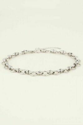 MJ03966 zilver Ketting met ronde schakels - My Jewellery