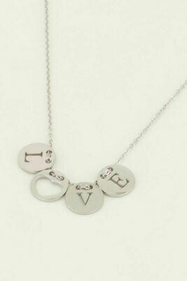 MJ04487 zilver Ketting Love rondjes - My Jewellery