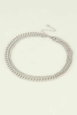 MJ04189 zilver driedubbele schakelketting - My Jewellery
