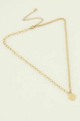 MJ04491 goud/gold Ketting hartjes slot - My Jewellery