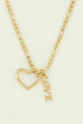 MJ04484 goud/gold Ketting hartje & love - My Jewellery