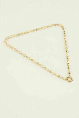 MJ04493 goud/gold Ketting bolletjes met ronde sluiting - My Jewellery