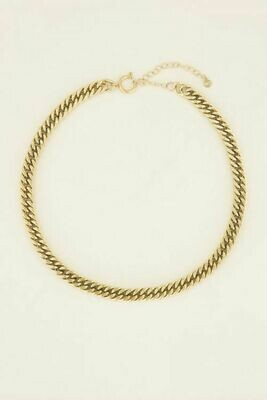 MJ03995 goud/gold Schakelketting met ronde sluiting - My Jewellery