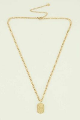 MJ04489 goud/gold Schakelketting met plaatje - My Jewellery