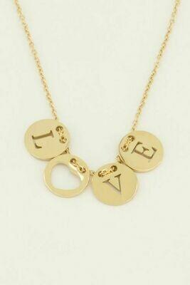 MJ04487 goud/gold Ketting Love rondjes - My Jewellery