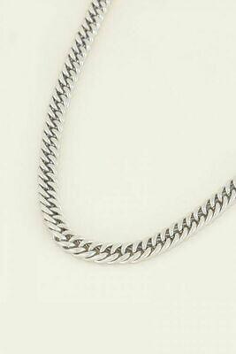 MJ03995 zilver Schakelketting met ronde sluiting - My Jewellery